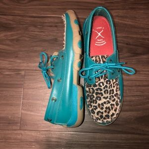 TWISTED X TURQUOISE and CHEETAH DRIVING MOCS